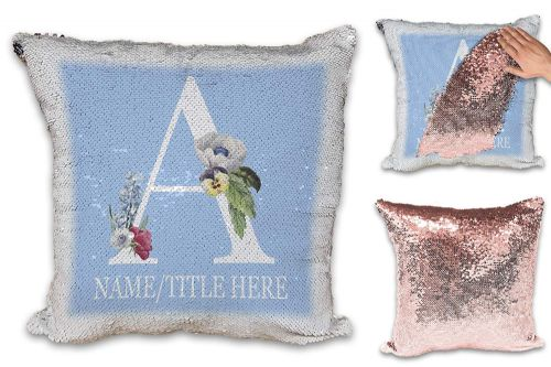 Personalised Floral Initial Letter A (Any Name/Title) Novelty  Sequin Reveal Magic Cushion